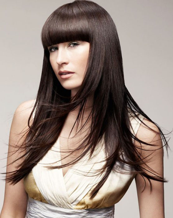 Long Straight Hairstyle With Blunt Bangs - The latest trends in women's hairstyles and beauty