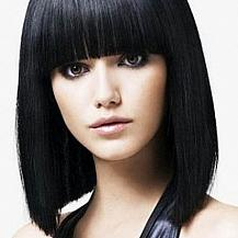Straight Bob Hairstyle Blunt Bangs