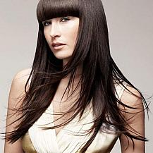 Long Straight Hairstyle With Blunt Bangs