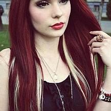 Dark Red Hair Blonde Highlights
